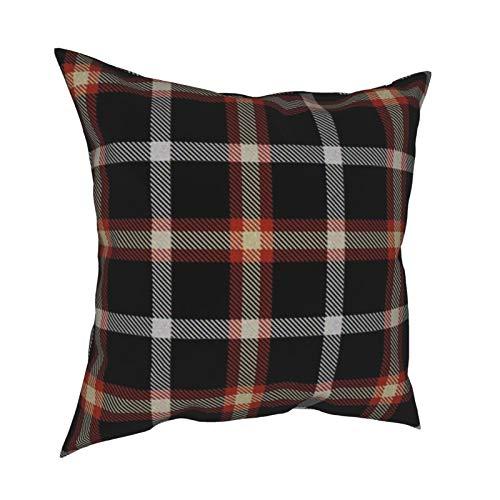Uliykon Fundas de cojín decorativas de color negro rojo y crema, fundas de almohada para sofá, dormitorio, coche, con cremallera invisible, 45,7 x 45,7 cm