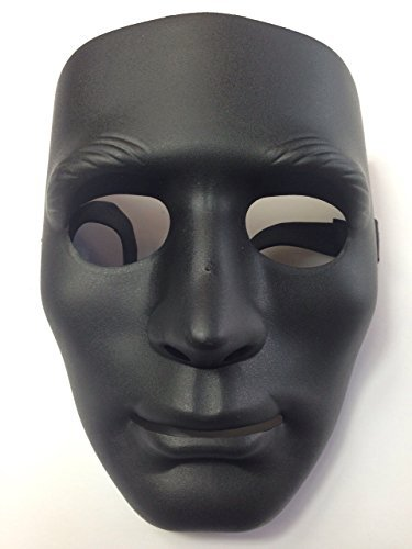 Rubber Johnnies TM Masken Jabbawockeez Style Hart Farbig Verkleidung Party - Schwarz