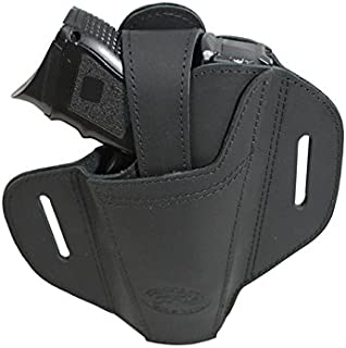 Barsony New Ambidextrous Black Leather Pancake Holster for Compact 9mm 40 45
