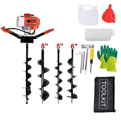 EASYG 52cc 2 Stroke Post Hole Digger, 1.8KW Petrol Gas Powered Earth Auger with 3 Replacement Drill Bits(5', 6', 8')