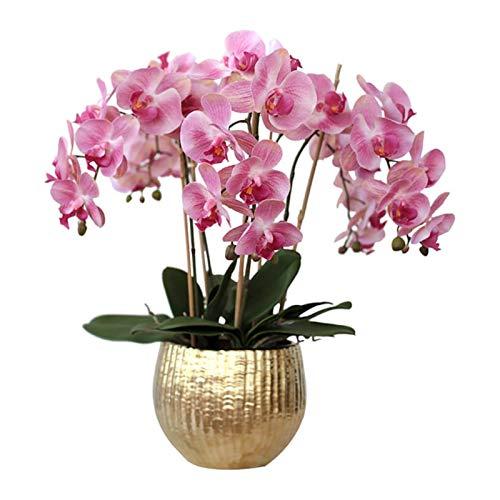 Orchids Arreglo Artificial de Flores de falaenopsis, Flores de orquídeas de Seda Seda con jarrón de ceramis, decoración de la Pieza de Comedor de la Fiesta de Bodas, Rosa