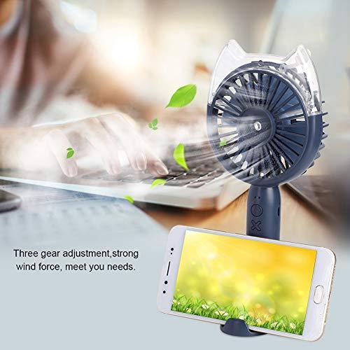 Ventilador humidificador, ventilador de mano portátil silencioso con velocidad del viento ajustable con carga USB para el aula para la sala de deportes al aire libre para la oficina