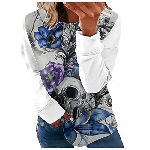 Camiseta de Manga Larga con Estampado de Calavera Tops de Mujer Cuello Redondo Casual Loose Camisa Gráfica Tunica Pull-Over Otoño e Invierno