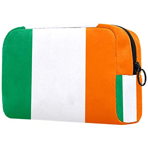 Cosmetic Bag Womens Waterproof Makeup Bag for Travel to Carry Cosmetics Change Keys etc Irish Flag Vector