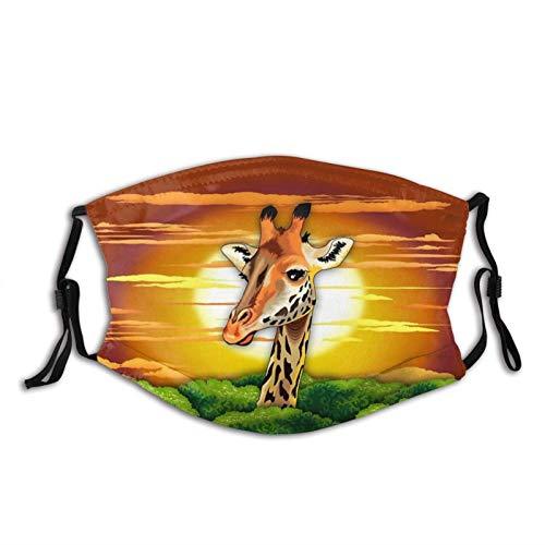 Máscara facial de jirafa, pasamontañas, lavable y reutilizable – Bandana de moda con 2 filtros, para adultos, hombres, mujeres y adolescentes
