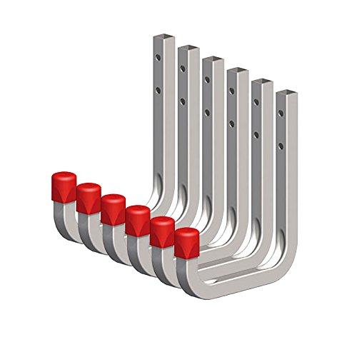 6 x SECOTEC® Universalhaken verzinkt 80 x 120 mm Belastbarkeit 45 kg Schlauchhaken Kabelhaken