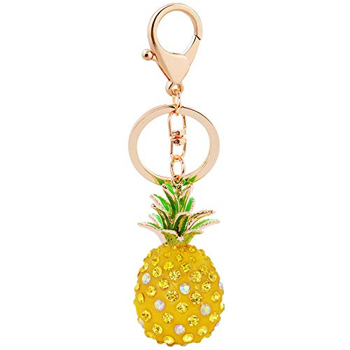 BZPKF Kit de llavero personalizado para mujer, llavero de coche, llavero de cristal para coche, maleta, mochilas, accesorios, llavero personalizado de peluche Kawaii (Piña Amarilla)