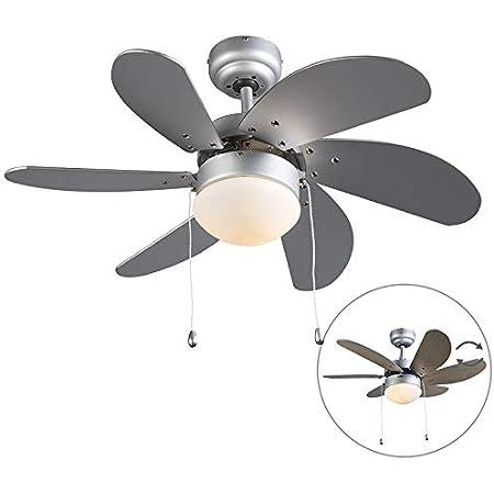 Qazqa Ventilateur de Plafond avec lumiere | Lampe de Ventilateur Moderne - Fresh Lampe Naturel Gris - E14 - Convient pour LED - 1 x 60 Watt