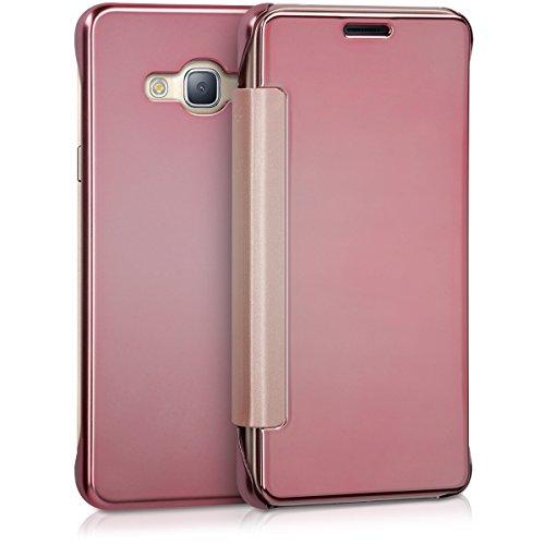 kwmobile Cover Compatibile con Samsung Galaxy J3 (2016) DUOS - Custodia Flip Protettiva a Specchio Effetto Alluminio - Case a Libro Oro Rosa Riflettente
