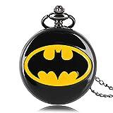 Batman Thème Montre à Quartz Montre de Poche DC Comics Rond Poche Montres, Collier...