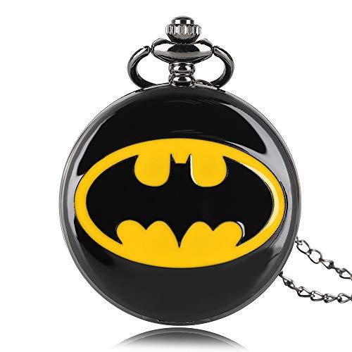 Reloj de Bolsillo de Cuarzo con diseño de Batman, Reloj de Bolsillo DC Comics Redondo, Reloj de Bolsillo, Collar de Regalo para Hombres y Mujeres