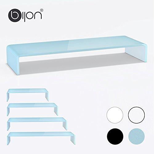 bijon® TV Aufsatz Glas Bildschirm-Erhöhung | PC Monitor-Erhöhung, Schreibtisch-Aufsatz für Laptop Erhöhung, Monitor-Erhöhung | (B/T/H) 1000x300x130mm - weiß