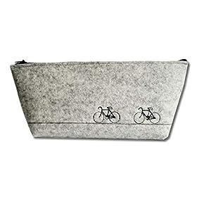 Federmäppchen/Schlampermäppchen/Stifteetui aus Wollfilz mit Stickerei in hellgrau, Motiv Fahrräder, ungefüttert für…