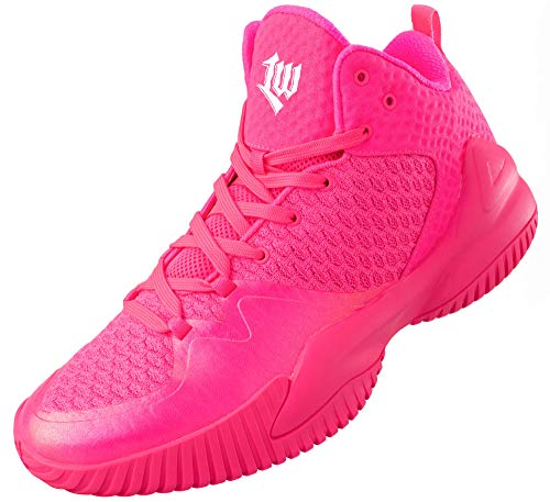 PEAK High Top Mens Basketball Shoes Lou Williams Streetball Master Breathable Non Slip Outdoor Sneakers Cushioning Workout Shoes for Fitness Pink