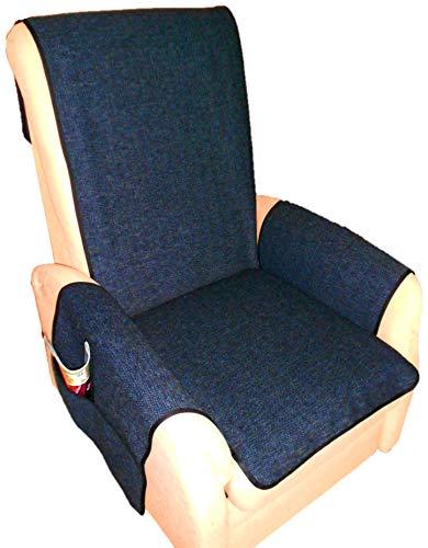 Holzdrehteile Sesselschoner Sesselauflage Sesselbezug Schoner Überwurf Auflage stahlblau