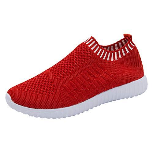 YWLINK Mode Mesh Damen Sneakers Outdoor Mesh Freizeit Sportschuhe Klassisch Atmungsaktive Laufschuhe (B Rot,39 EU)