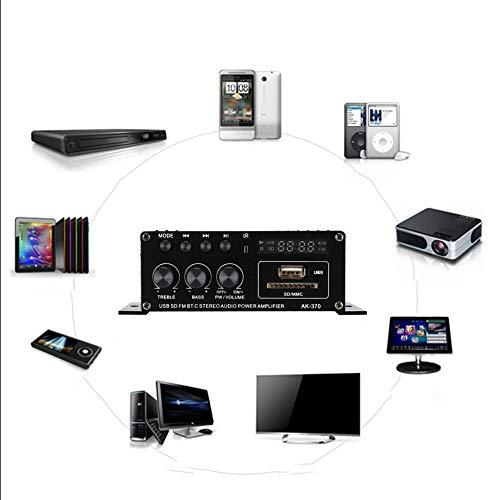 ASHATA Home Stereo-versterker, huishoudelijke hifi-versterker van aluminiumlegering 12 V met afstandsbediening compatibel met verschillende digitale apparaten, luidsprekers, PA, theater, studio