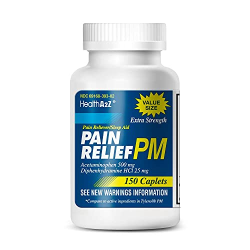 HealthA2Z Extra Strength Pain Relief PM, 150 Caplets, Acetaminophen 500mg | Diphenhydramine 25mg | Pain Reliever Plus Nighttime Sleep Aid | Non-Habit Forming