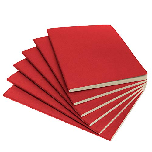 """Simply Genius (6 Pack) Travel Journal, Travelers Notebook Set: Softcover Journals to Write in for Women, Journal for Men, Writing Journal Notebook Lined, 92pg Ruled, 5.5"""" x 8.3"""", Red"""