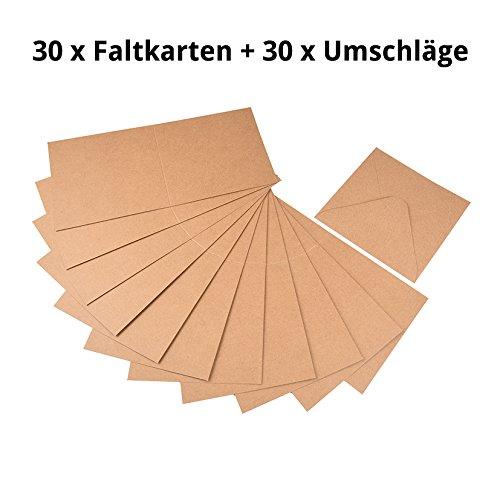 60tlg. Set Briefumschläge / Kuverts und Klappkarten aus Naturkarton, quadratisch, zum Selbstgestalten von Gruß- und Glückwunschkarten, Einladungskarten uvm.