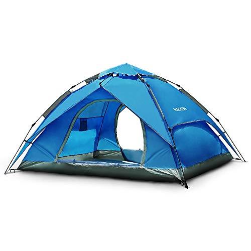 NACATIN Tente Instantanée,Pop Up,Dôme Tente Étanche,Automatique,Ouverture pour 3/4 Personnes,Tente PU 3000mm pour la randonnée Familiale et Outdoor Camping Plage (Bleu)