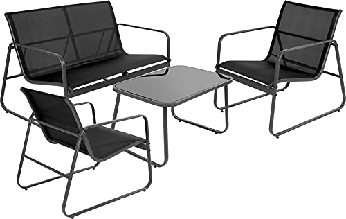 idooka 4 Seater Black Furniture Lounge Set for Patio, Garden and Conservatory - Two Chairs, Large Coffee Table and Comfortable Sofa - Modern Design Weatherproof Sturdy Woven Poly Mesh and Steel
