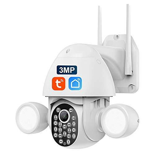 3MP Cámara de Vigilancia WiFi Exterior, SHIWOJIA Cámara WiFi con Detección de Movimiento, Impermeable IP65, Audio Bidireccional, Cámara TUYA Compatible con Alexa y Google