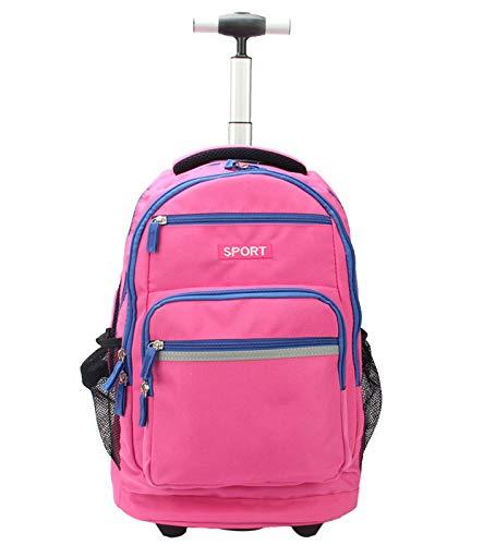 LHY SAVE Rucksack Trolley für Kinder Laptop Rucksack Trolley,Wasserdicht Rucksäcke Für Business Reise Und Urlaub Passt Bis Zu 15 Zoll Laptop,Rosa