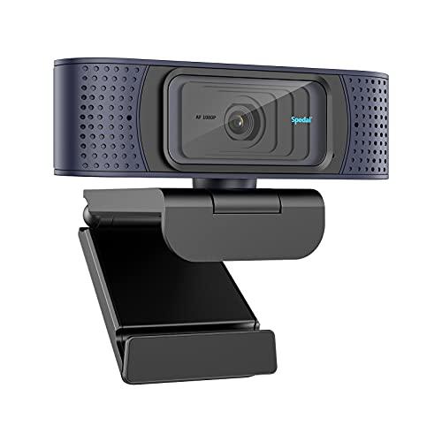 Webcam Autofocus avec Cache, Caméra Web HD 1080P USB avec Double Microphones pour Live Streaming PC Skype Xbox Facebook et Youtube Webcam Streaming USB pour Mac Windows Plug and Play