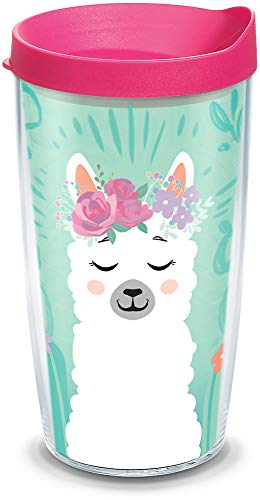 Tervis 1330757 Llama Flora Insulated Tumbler with Wrap and Fuchsia Travel Lid, 16 oz, Clear