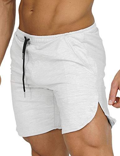 COOFANDY Pantalones cortos de entrenamiento para hombre, pantalones cortos de deporte, con bolsillos Blanco XL