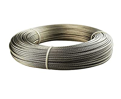 Jimeternal Stainless Aircraft Steel Wire Rope for Fence,Railing,Decking, 1/8Inch 7x7 100Feet T316 Grade