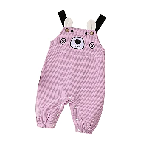 Infant Jumpsuits Winter Baby Romper - Bear Printed Suspender Cute Boys Girls Cotton Sleeveless Fall Outfit Bodysuit