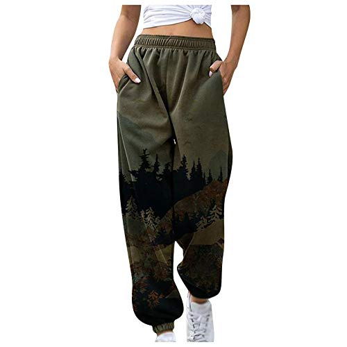 Kansopa Women Trousers Fashion Mountain Treetop Printed Pants Sports Running Yoga Athletic Pants with Pocket