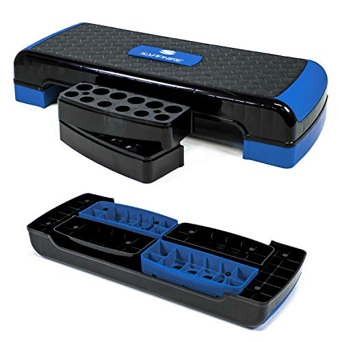 Xylo Sapphire Aerobic Steppbrett 3-Stufen höhenverstellbar Stepper Step-Bench Home-Stepper Steppbank Gymnastik Muskulatur Fitnessboard Fitness Fettverbrenung XG-047