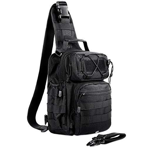 AmHoo Tactical Sling Bag Outdoor EDC Molle Backpack Black