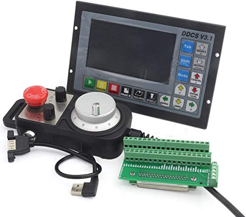 RATTMMOTOR DDCS V3.1 Offline Controller 4 Achsen 500kHz Offline CNC Motion Controller und 100PPR MPG Handrad mit Not-Aus-Schalter für Schrittmotor Servomotor