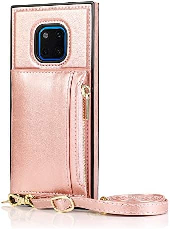 SLDiann Case for Huawei Mate 20 pro, Zipper Wallet Case with Credit Card Holder/Crossbody Long Lanyard, Shockproof Leather TPU Case Cover for Huawei Mate 20 pro (Color : Rosegold)