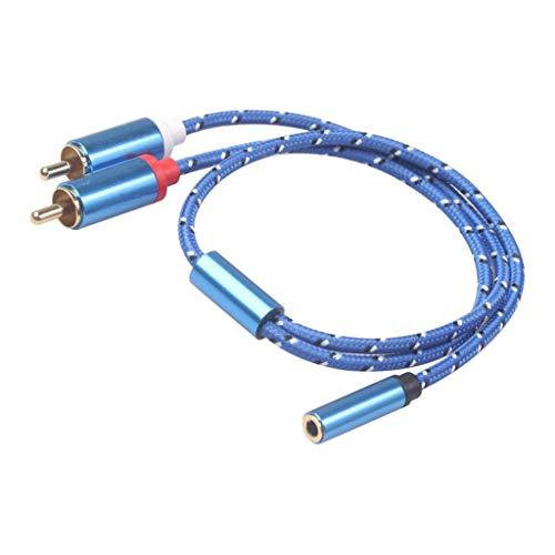 SM SunniMix Cable de Audio Estéreo Macho de 3,5 Mm Hembra a 2RCA Chapado en Oro para TV, Teléfonos Inteligentes,