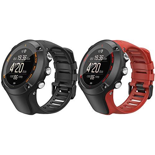 TiMOVO Reloj Correa Compatible con Suunto Ambit 3, Banda de Reloj Deportivo, Respirable y Reemplazable, Pulsera de Silicona para Hombres y Mujeres, Negro & Rojo