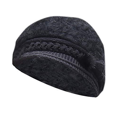 HJFR 2021 Nouveau Mode Femmes Bérets,Hiver Bonnet tricoté,Extérieur Bonnet en Laine,Casquette,Doux Chapeaux,Bonnets de Ski,Capuchon de Protection des Oreilles Chaudes