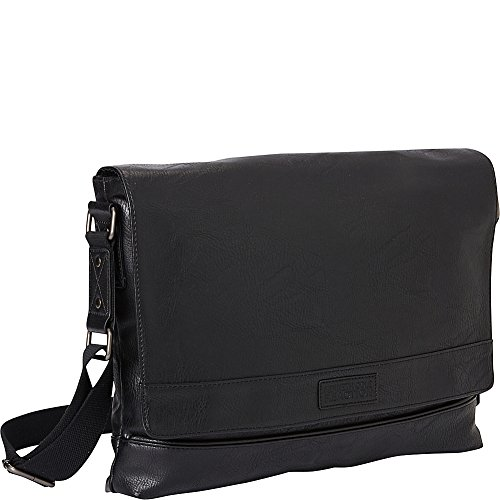 Kenneth Cole REACTION Tour' Grand Central Collection Faux Leather 15' Laptop Messenger Bag, Black, One Size