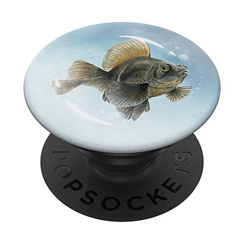 Watercolor Black Moor Goldfish with Bubbles Traditional Art PopSockets Grip and Stand for Phones and Tablets
