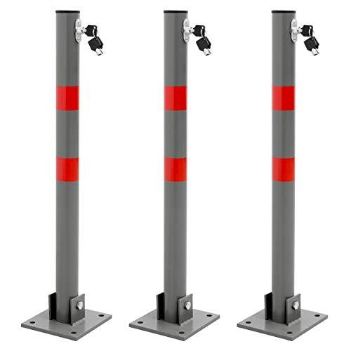 ECD Germany 3 x Barriera di Parcheggio Pieghevole 68 x 5 cm Rotondo Dissuasore Barra Chiusura Posteggio Protezione Parcheggio in Acciaio + 3 Chiavi e Materiale di Montaggio