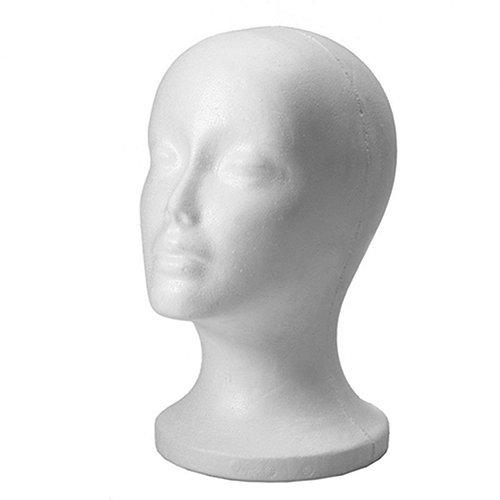 SpirWoRchlan Modellkopf, weiblich, aus Schaumstoff, Styroporkopf, Brillenständer, Ständer für Perücken, Kopfhörer, Mützen (weiß, 1 Stück)