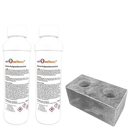 SudoreWell® Sauna Aufgussstein Dampfstein 2 Loch aus Speckstein Plus 2 x 125ml Saunnaaufguss Eukalyptus + Menthol
