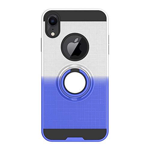 FAWUMAN Funda para iPhone XR(6.1 Inch) Soft TPU + Duro PC Doble Parachoques Cubierta con a Anillo Soporte,Diseño Antideslizante de Red de Pesca 3D(Plata-Azul)