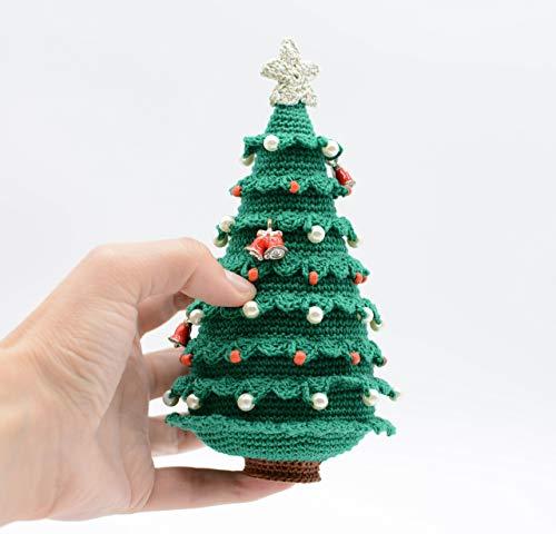 Handgemachter Weihnachtsbaum mit Globus und Glocken, perfektes Geschenk, Haupt Dekoration, Amigurumi Ornament