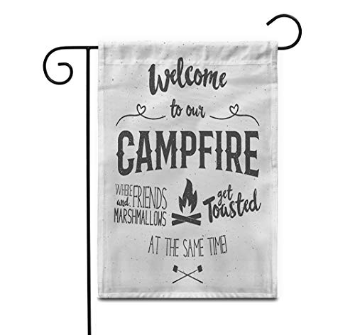 Awowee 28'x40' Garden Flag Vintage Sign Welcome to Campfire Effect Funny Lettering Symbols Outdoor Home Decor Double Sided Yard Flags Banner for Patio Lawn