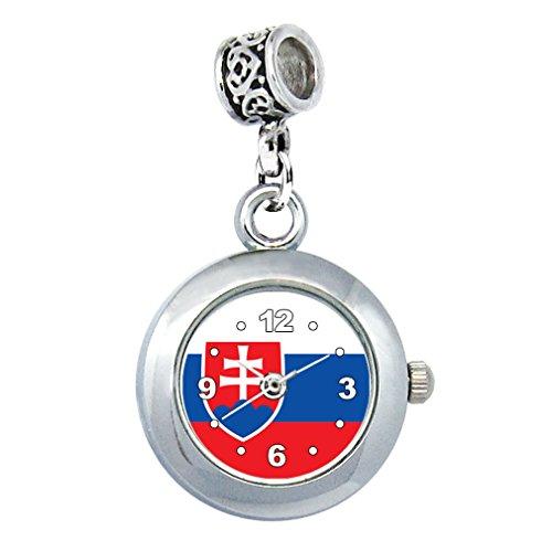 Timest - Slowakei Länder Flaggen Uhr für Armbänder und Ketten Rund Analog Quarz EBA0381